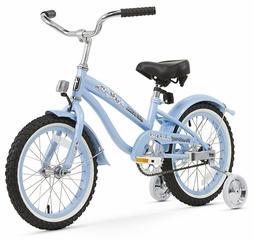 "16"" Girl's Beach Cruiser Bike Blue w/Training Wheels"