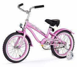 "16"" Girl's Beach Cruiser Bike Pink w/Training Wheels"