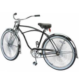 """26"""" Beach Cruiser Bike 144 spokes Springer Fork Black Or Chr"""