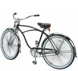 "26"" Beach Cruiser Bike Bicycle Black Frame with 144 spokes"