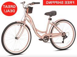 "26"" Beach Cruiser Women's Bike Rose Gold Hybrid Low Step"