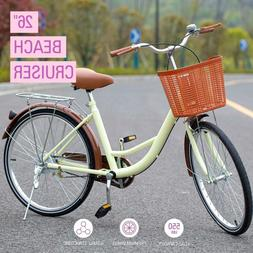 26 Inch Beach Cruiser Bike Bicycle for Women with Basket and