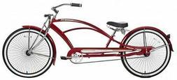 "26"" Stretch Beach Cruiser Bike 68 Spokes Coaster Brake RED"