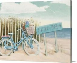 Beach Cruiser II Crop Canvas Wall Art Print, Bicycling Home