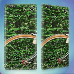 BLACK BEACH CRUISER BICYCLE HARD BACK CASE FOR SONY XPERIA P