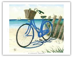 Blue by You Cruiser Bike Beach Vintage Original Painting Art