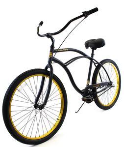 Zycle Fix Classic Beach Cruiser Men 3 Speed Bicycle Bike Bla