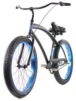 Zycle Fix Cobra Beach Cruiser 3 Speed Bicycle Bike Black Blu