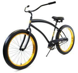Zycle Fix Cobra Beach Cruiser Bicycle Bike Black Gold NEW