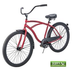 Men's 26 Inch Huffy Cranbrook Cruiser Bike Red Cycling 56387