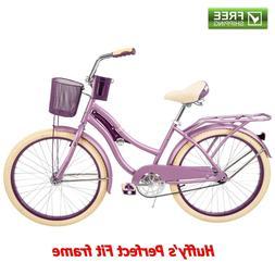 """Huffy Cruiser Bike Women's 24"""" Purple Beach City Comfort Bic"""