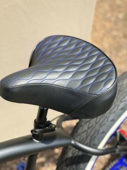 Custom Beach Cruiser Comfortable Bicycle Seat- BLUE STITCHIN