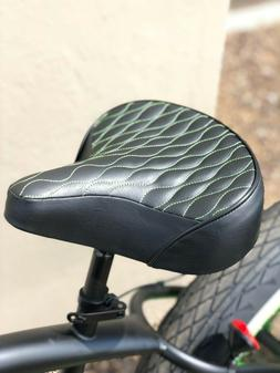 Custom Beach Cruiser Comfortable Bicycle Seat- GREEN STITCHI