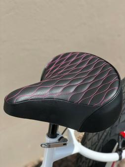Custom Beach Cruiser Comfortable Bicycle Seat- PINK STITCHIN