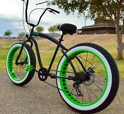 Fat Tire Beach Cruiser Bike 🌴 Flat Black w Green Wheels -