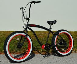 Fat Tire Beach Cruiser Bike 🌴 Flat Black w Red - 7 SPEED-