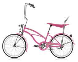 "Micargi HERO-F-PK Ladies 20"" Beach Cruiser Banana Seat Bicyc"