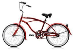 "Micargi JETTA-M-RED Men's 20"" Beach Cruiser Bicycle Bike, Re"
