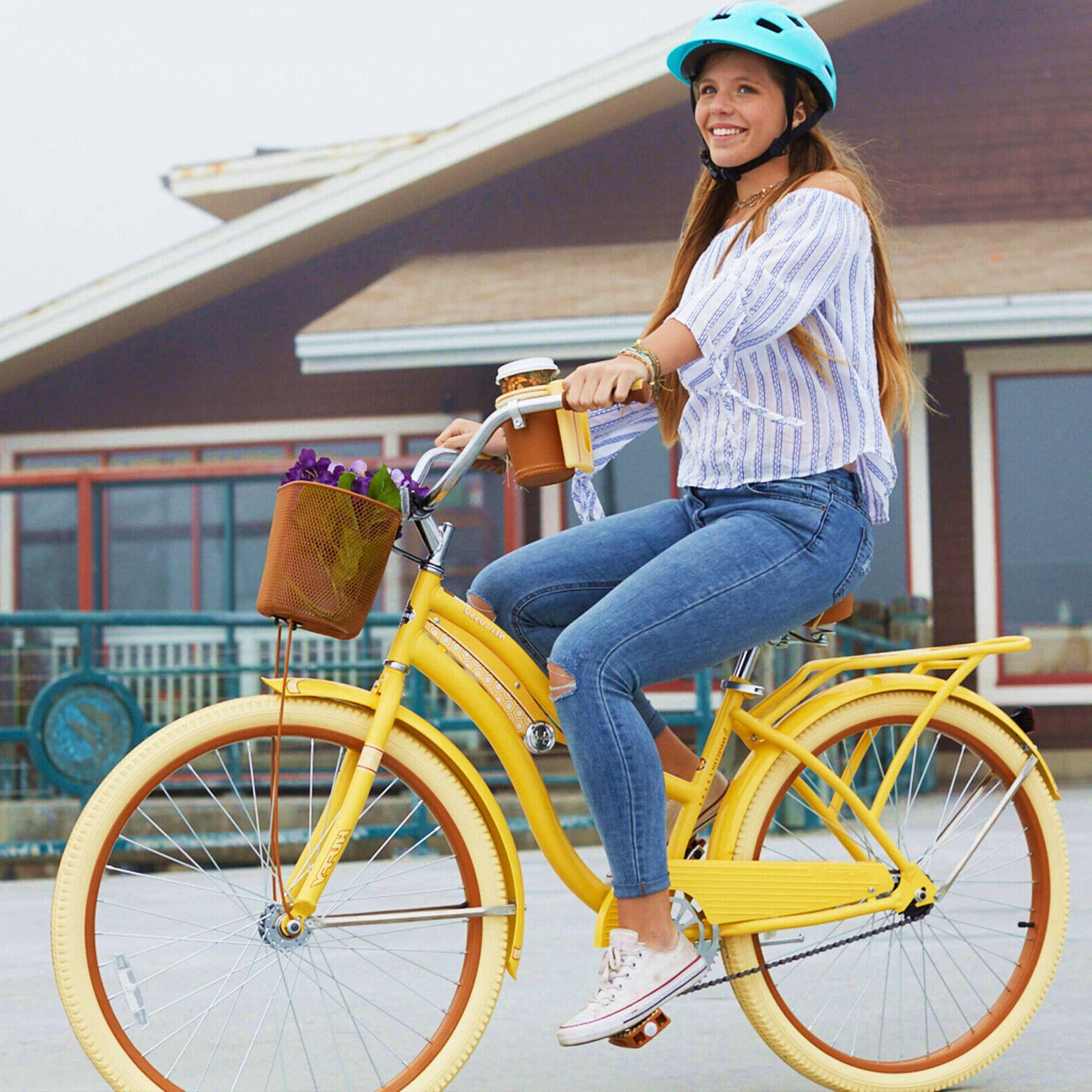 Huffy Women's Lusso Cruiser with Perfect Fit Yellow