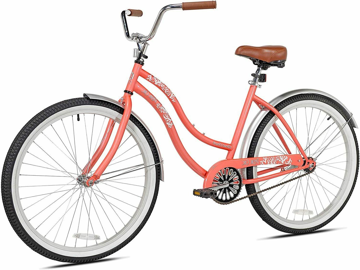 beach cruiser bike 26 inch coral crush
