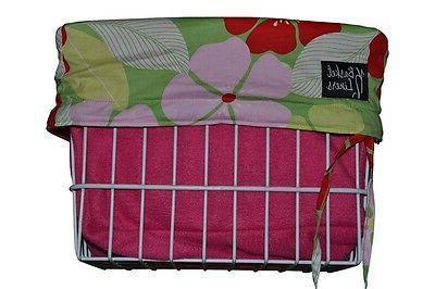 bicycle basket liner hawaiian flower pink beach