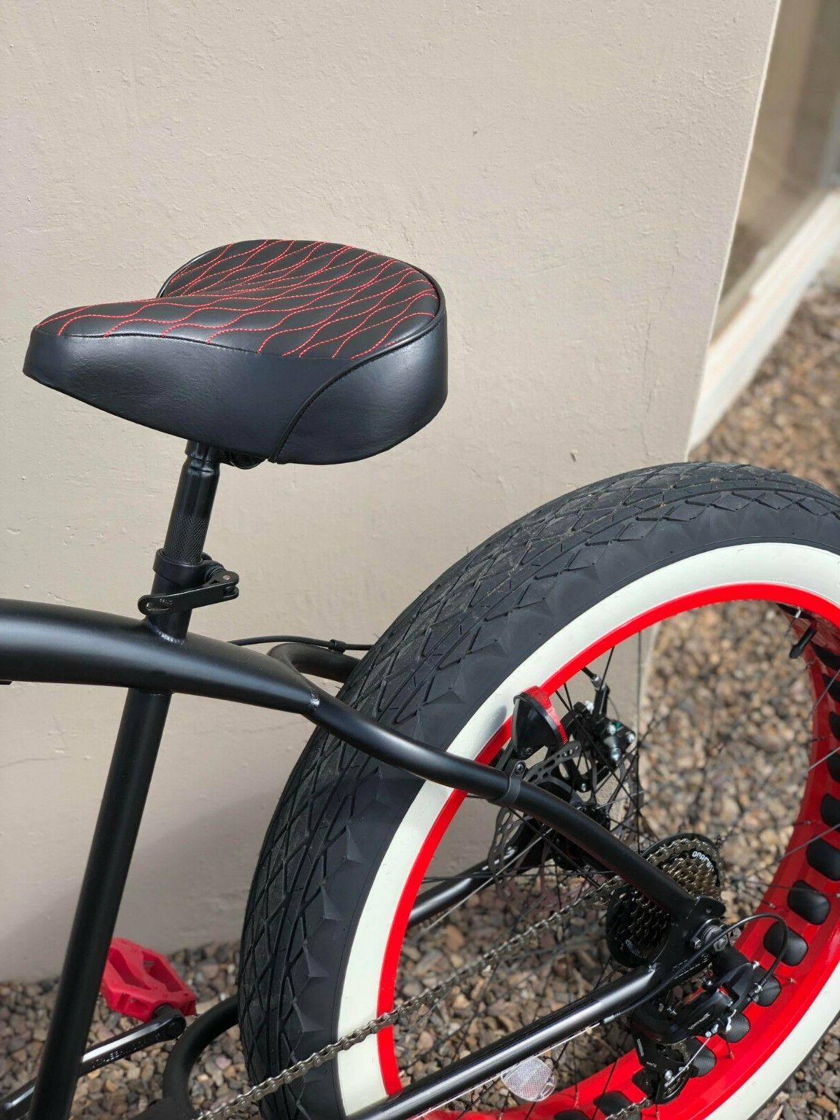 custom beach cruiser comfortable bicycle seat red
