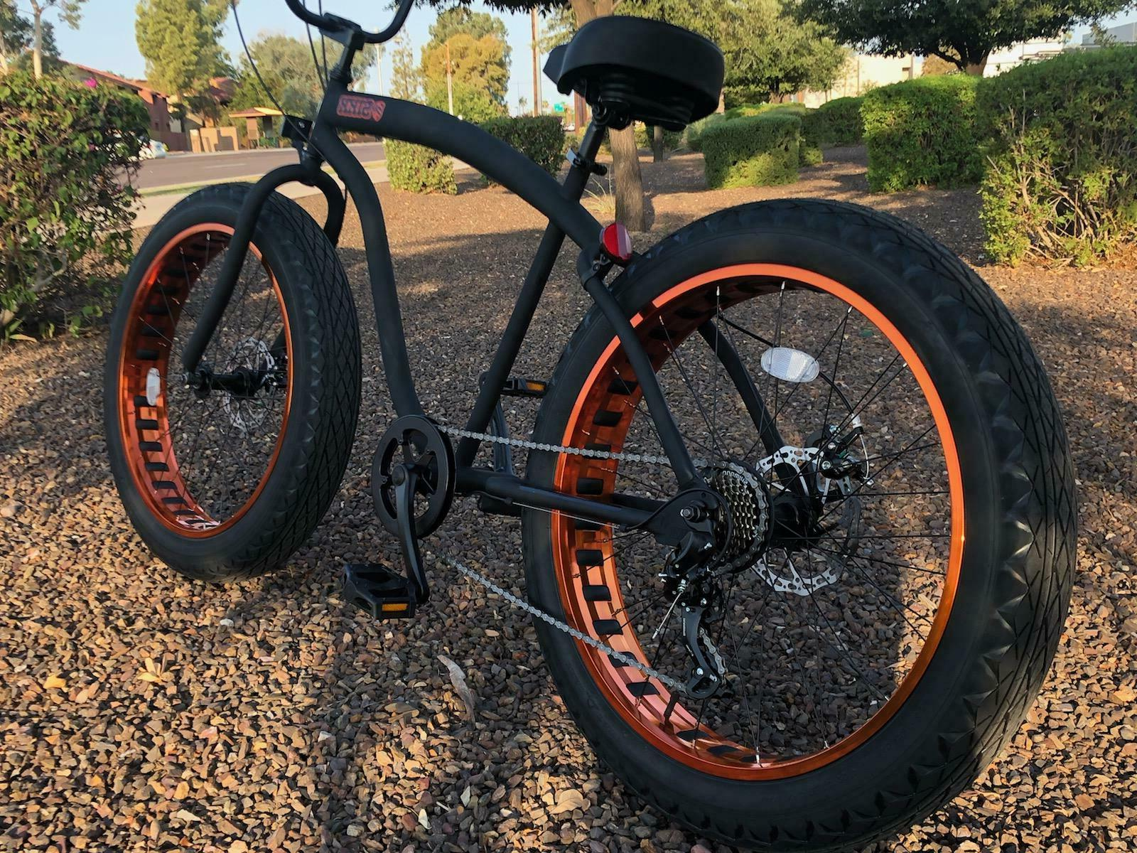 Fat Beach Cruiser Bike 🌴 Flat w Copper - SPEED-CUTOUT
