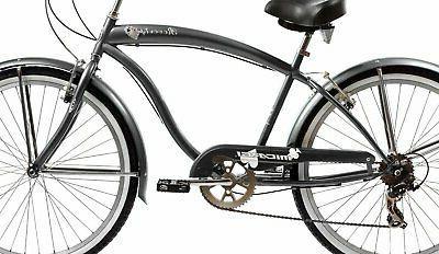 Micargi 7 speed beach cruiser bicycle Black
