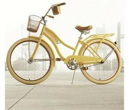 Ladies Beach Cruiser Bike With Basket And Rear Rack