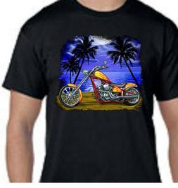 Motorcycle Biker Orange Flames Beach Cruiser Tee T-Shirt New