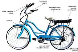 "NEW 26"" Electric Beach Cruiser 7 Speed 350W Rear Hub Motor S"