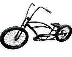 "26"" Beach Cruiser Bicycle Extended Vintage Coaster Brake Bla"