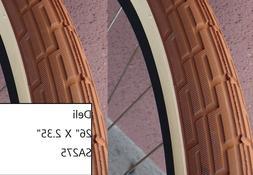 Pair of Tan Brown 26x2.35 Bicycle Fat Tires Slick Beach Crui