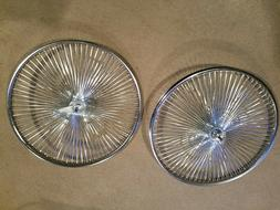 """TWO CHROME 144 SPOKE BEACH CRUISER BICYCLE RIMS 26"""",FRONT &"""