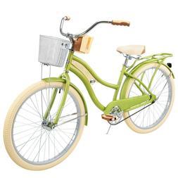 Women's Beach Cruiser Bike Bicycle Green 26-Inch Basket Stor