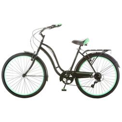 "Womens Beach Cruiser Bike 7 Speed 26"" Bicycle Rack Ladies Ci"