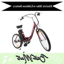 YT Electric Beach Cruiser Bicycle Battery Powered E-Bike Lit