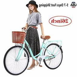YUTK Womens Bikes Beach Cruiser Bike, Bicycle 26-Inch  mount